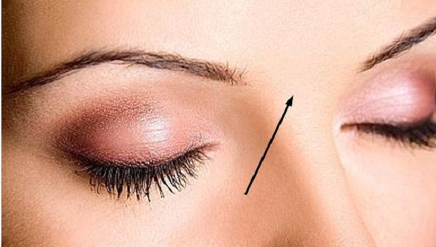 in between eyebrows