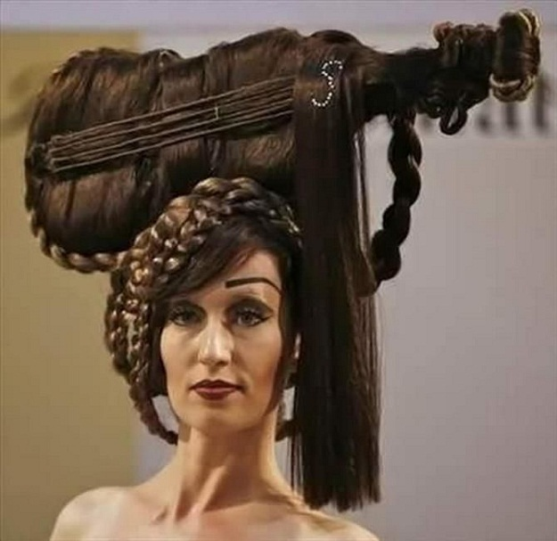 weird strange crazy hairdo guitar hairstyle